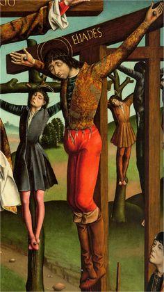 Jubón unido a las calzas por medio de agujetas. Acacio y los 10.000 mártires en el monte Ararat, Francisco Gallego, Después de 1490, Museo Meadows, Universidad Metodista del sur, Dallas, EEUU (detalle)