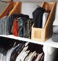use affordable magazine holders to organize and store your purses + clutches // clever