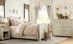 [Bedroom] Lovely Romantic Chic Bedroom Inspirations: Elegant White Bedroom Design With Big Windows And Wood Plank Wall Decoration And Beautiful Chandelier Küchen Design, Home Design, Decor Interior Design, Design Ideas, Room Interior, Interior Decorating, Design Inspiration, Rustic Girls Rooms, Girls Bedroom
