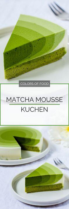 Hier findest du das Rezept für einen sommerlichen Matcha Mousse Kuchen im Ombre Look mit einer großen Portion Matcha für den extra Energie-Kick.