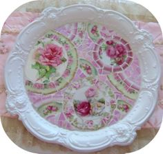 Pretty White Mosaic Tray-mosaic tray china home decor pink roses romantic romancing cottage style chic shabby