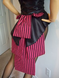 MADE TO ORDER Circus Caberet Steampunk Red and Black Striped Bustle Skirt. $50.00, via Etsy.