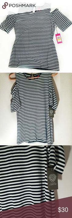 Vince Camuto Cold Shoulder Striped Top Medium NWT Cold shoulder style Vince Camuto black and white striped top.  Very soft with stretch, super flattering! Keyhole back. Brand new with tags. Smoke free and pet friendly home <3. Vince Camuto Tops Tees - Short Sleeve