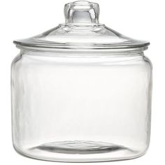 Crate & Barrel Heritage Hill 96 oz. Glass Jar with Lid featuring polyvore, home, kitchen & dining, food storage containers, glass storage jars, lid container, beverage container, storage jars and drinking jar