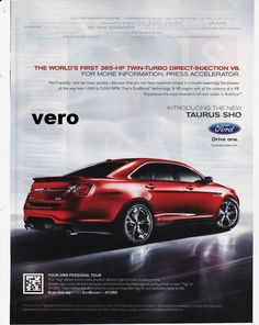 Ford Taurus Sho Red 2010 Magazine Ad Print Poster Page Clipping Car Automobile 2017