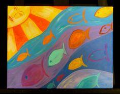 Whimsical fish painting sun and ocean art artwork by faithcolors