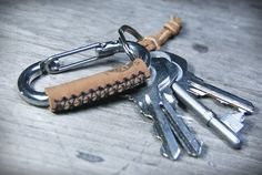 Carabiner leather wrapped keychain Key ring Key by 896LeatherShop