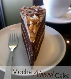 Rich, decadent chocolate mocha #cake with #espresso whipped buttercream and toasted #almond topping