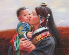 Motherhood in Chinese painting by Barry Yang http://es.pinterest.com/solvilchez/a-r-t-~-a-mothers%E1%83%93-l-o-v-e/