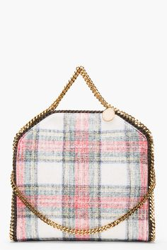 Stella McCartney RED TARTAN FOLDOVER FALLABELLA SMALL TOTE from @SSENSE