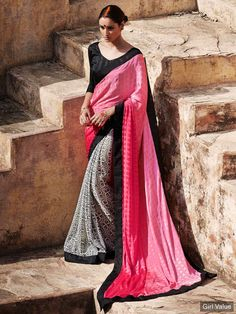 Indian pink off white satin jacquard and georgette lovely casual saree