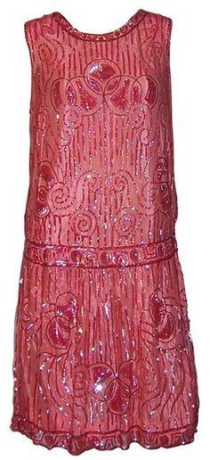 1920's red evening dress