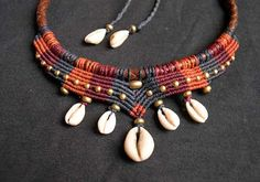 """Tribal Macrame Choker Collier """"Mama Africa"""" with Cowrie Shells and Brass beads"""