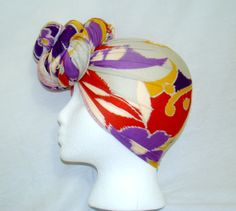 Beautiful Multicolor Spring Floral Print Knit Jersey Stretch Headwrap