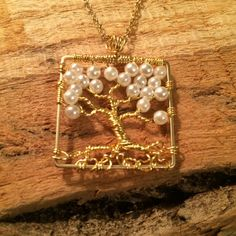 Tree Of Life Necklace Pearl Pendant On Gold by Just4FunDesign