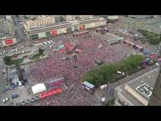 Warsaw, Poland - 100.000 people coming  to the fan zone to watch Poland v. Russia match during Euro 2012