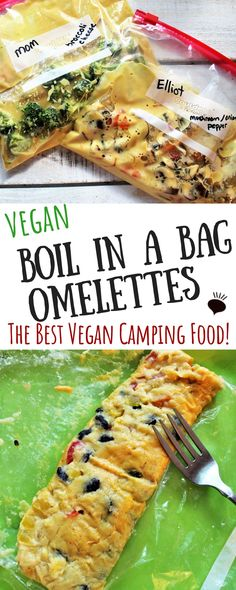 Best vegan camping food Boil in a bag vegan omlettes Easy vegan breakfast while camping or backpacking Vegetarian Camping, Best Camping Meals, Vegetarian Recipes, Camping Food Recipes, Camping Gear, Healthy Camping Snacks, Best Backpacking Food, Gluten Free Camping, Chickpea Flour Recipes