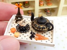 Autumn in Paris Cappuccino Tray Set for Fall / Autumn - 12th Scale Miniature Food. $70.00, via Etsy.