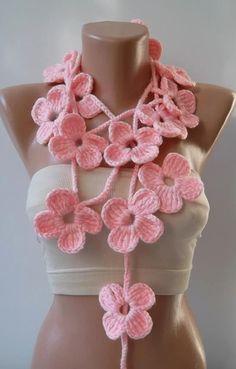Crochet Flower Scarf  Pink
