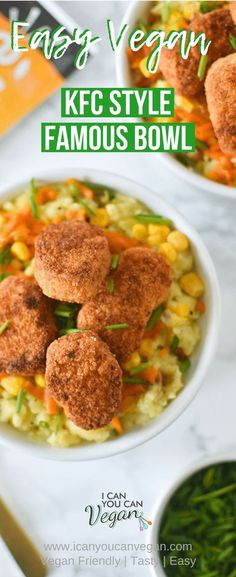 Wondering how to make a vegan version of the KFC Famous Bowl? I used frozen nuggets from Alpha Foods to make them and added Cajun seasoning for a nice little twist! The vegan mashed potatoes are homemade and easy to make! Crispy nuggets and sweet corn sits on top of creamy mashed potatoes. It's a bowl of comfort food with that classic KFC taste!  #KFC #KFCVegan #VeganKFC #VeganFamousBowl #DIYFamousBowl #HomemadeFamousBowl #HomemadeKFCBowl #AlphaNuggets #FrozenNuggets