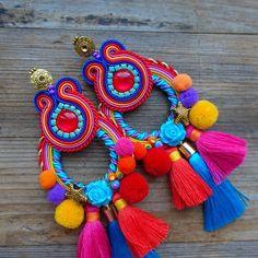 Textile Jewelry, Embroidery Jewelry, Jewellery, Indian Jewelry Sets, African Jewelry, Soutache Earrings, Diy Earrings, Boho Diy, Fabric Ribbon