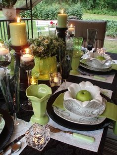 Green & black. This is a great display and table scape. height and layers create visual interest. visit and LIKE my facebook page Upper Crust Designs for more great ideas and inspiration for your home and garden.
