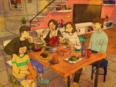 """♥ Having good friends over to dinner...  ♥  """"THIS IS WHAT LOVE LOOKS LIKE…"""" by Puuung at www.grafolio.com ♥"""