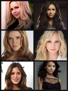 Tvd girls, Elena/Katherine (Nina dobrev), Bonnie (kat graham), Caroline (Candice accola), Jenna (Sara canning), Rebekah (Claire Holt), Vicki (Kayla Elwell) #thevampirediaries