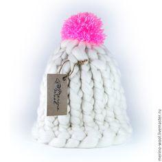 Купить Шапка из толстой пряжи - белый, толстая пряжа, шапка вязаная, merino wool