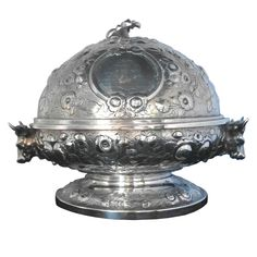 1stdibs   Peter L. Krider Coin Silver Hand Chased Butter Dish w/Domed Lid ca. 1860