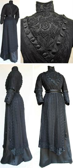Braidwood or Sydney, Australia, ca. 1908-12. Black silk satin & lace. Boned fitted inner bodice w/full-length sleeves; outer bodice (magyar style, slightly looser fit), w/elbow-length sleeves. Bodice has V-shaped front & back section enclosing heavily embroidered cotton net lace. Same lace on lower sleeves & collar. Simpler lace design on over-bodice. High boned collar. A-line skirt (replica) w/shorter, shaped hemline lace skirt on top. Griffith Pioneer Park Museum via Australian Dress…