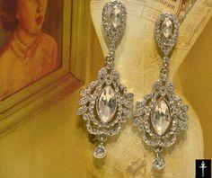 Victorian Chandelier Bridal Earrings, Vintage Style Bridal Wedding Earrings
