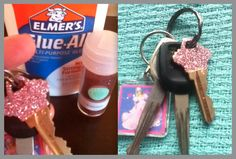so cute and easy to do. decorate you keys with different colored glitter for an updated look!