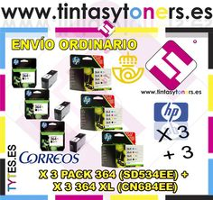 3 PACK HP 364 RAINBOW 4 COLORES + 3 ORIGINALES 364XL NEGRO SD534EE CN684EE COMBO