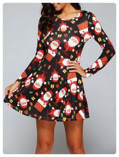 Round Neck Long Sleeve Christmas Gift Print Dress (Black) Cheap Dresses ee15bad23c0a