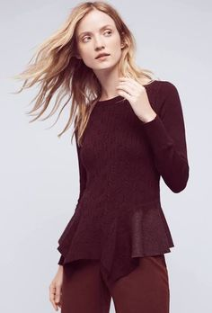 Audrey Peplum Pullover regular large not petite this red plum color  (anthropology's site isn't letting me pin so this is via Google shopping)