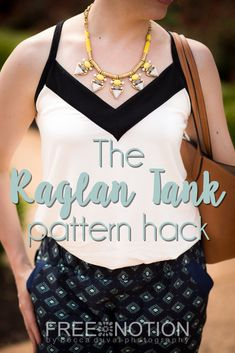 Convert your favorite raglan-sleeve sewing pattern into a strappy summery tank! A Free Notion tutorial by Becca DuVal Sewing Patterns Free, Clothing Patterns, Sewing Ideas, Sewing Projects, Harem Pants Pattern, Pattern Drafting, Top Pattern, Handicraft, Hacks