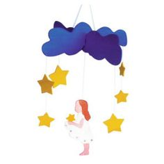 "Kinderkram Wooden Baby Mobile - Falling Stars. From the Grimm's fairy tale ""Star Money."" $29.95"