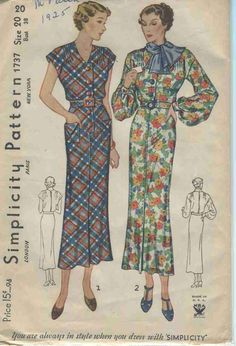 Vintage Sewing Pattern Simplicity # 1737 ERA: 1930s SKU - 70089 -