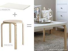 IKEA HACK: how to a Frosta stool into a coffee table Ikea Inspiration, Hacks Diy, Home Hacks, Ikea Furniture, Furniture Makeover, Luxury Furniture, Furniture Cleaning, Furniture Movers, Furniture Removal