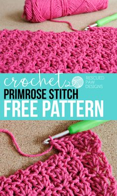 Crochet+Primrose+Stitch+Tutorial+-+Free+Pattern+by+Rescued+Paw+Designs+#diy+#fall+#crafts+