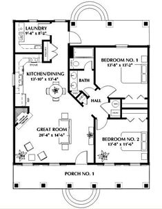 This southern design floor plan is 1097 sq ft and has 2 bedrooms and has 1 bathrooms. Cottage House Plans, Small House Plans, Cottage Homes, House 2, Cottage Style Houses, Small Cottage Plans, Guest House Plans, Small Floor Plans, Tudor House