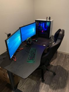 "My ""completed"" battle station. Best Gaming Setup, Gaming Room Setup, Pc Setup, Gaming Computer Desk, Computer Desk Setup, Dope Rooms, Small Game Rooms, Bedroom Setup, Cool Desktop"