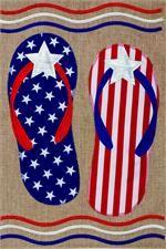 Patriotic Flip Flops - Burlap Garden Flag