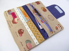 Fabric wallet Tan Purple Macaron Cake Sweet by LuckyCatHandmade, €25.00