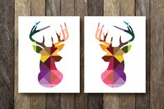 Geometric Stag Prints - Instant Download Printables - Geometric Art - Colorful Wall Art - Stag Silhouette - Tribal Wall Decor - Print Set