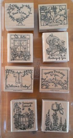"""Stampin Up """"Feathered Friends"""" Hello Best Wishes Baby Birthday Birds"""