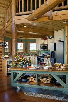 Log Home Kitchens - rustic - Kitchen - Expedition Log Homes Rustic Cabin Kitchens, Log Home Kitchens, Rustic Kitchen Design, Portable Kitchen Island, Kitchen Island Cart, Kitchen Islands, Rustic Kitchen Island, Cozy Kitchen, Kitchen Wood