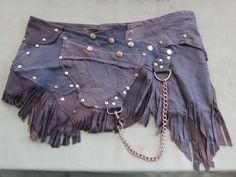 "BURNING MAN leather mini skirt belt/ with pocket,fringing and stud detail....36"" to 44"" hip on Etsy, $75.19"