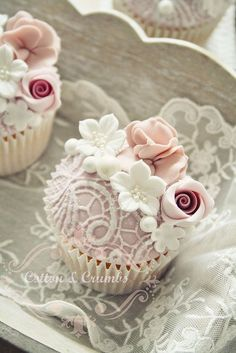 Fancy Lace and Floral Inspired Cupcakes: Perfect for a Bridal Shower Dessert | Pinned by @eastsix